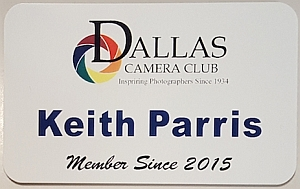 Dallas Camera Club Name Badge